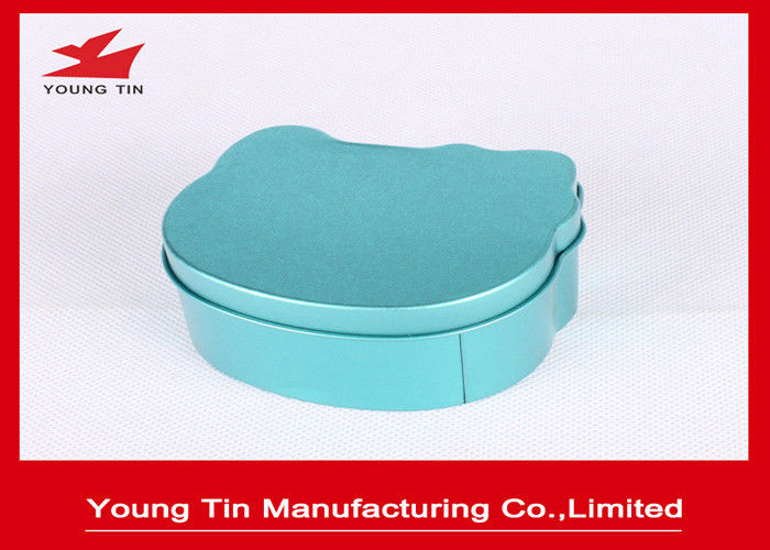 Irregular Children Tinplated Candy Gift Boxes Blue 75 * 68 * 40 MM With Cap